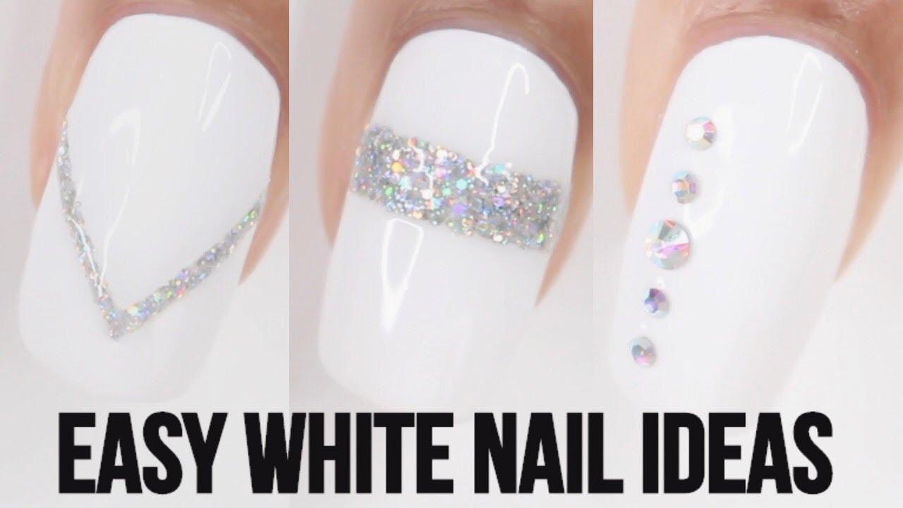 5 EASY WHITE NAIL IDEAS - YouTube