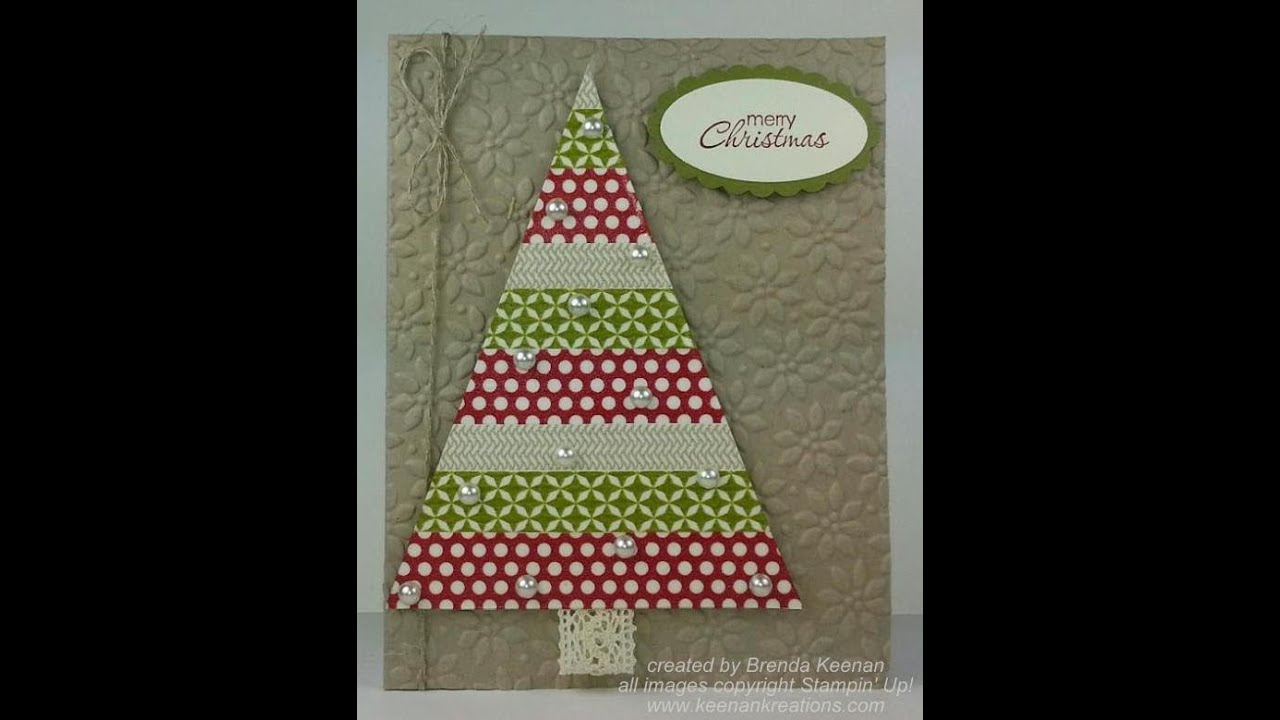 Stampin 39 up washi tape christmas tree card youtube for Christmas tree cards to make