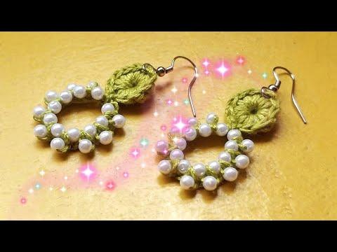 👌🌹 Crochet Earrings with beads 🌹👌 (0117)