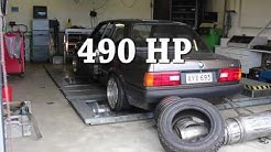 BMW e30 turbo dyno with aluminium block m52b28:  490 hp
