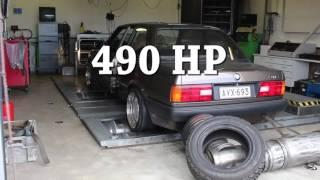 bmw e30 turbo dyno with aluminium block m52b28 490 hp