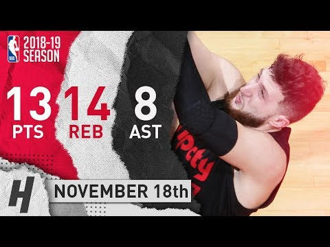 Jusuf Nurkic Full Highlights Blazers vs Wizards 2018.11.18 - 13 Pts, 8 Ast, 14 Rebounds!