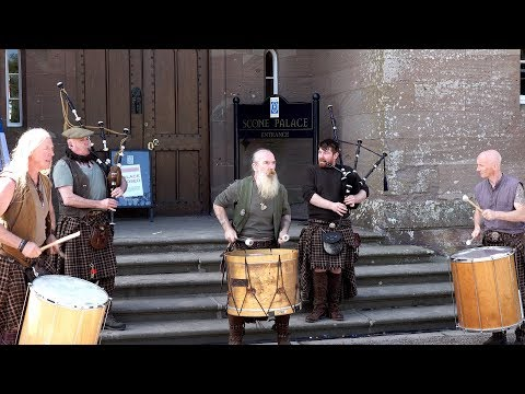 Meet Clanadonia, Scottish tribal band used in Outlander, at Scone Palace, Scotland, May 2018