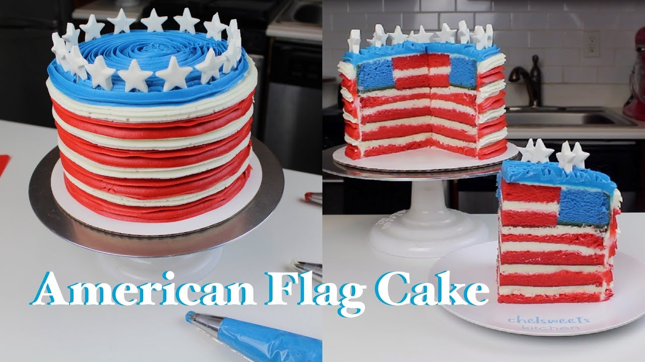 How To Make An American Flag Cake Chelsweets Youtube