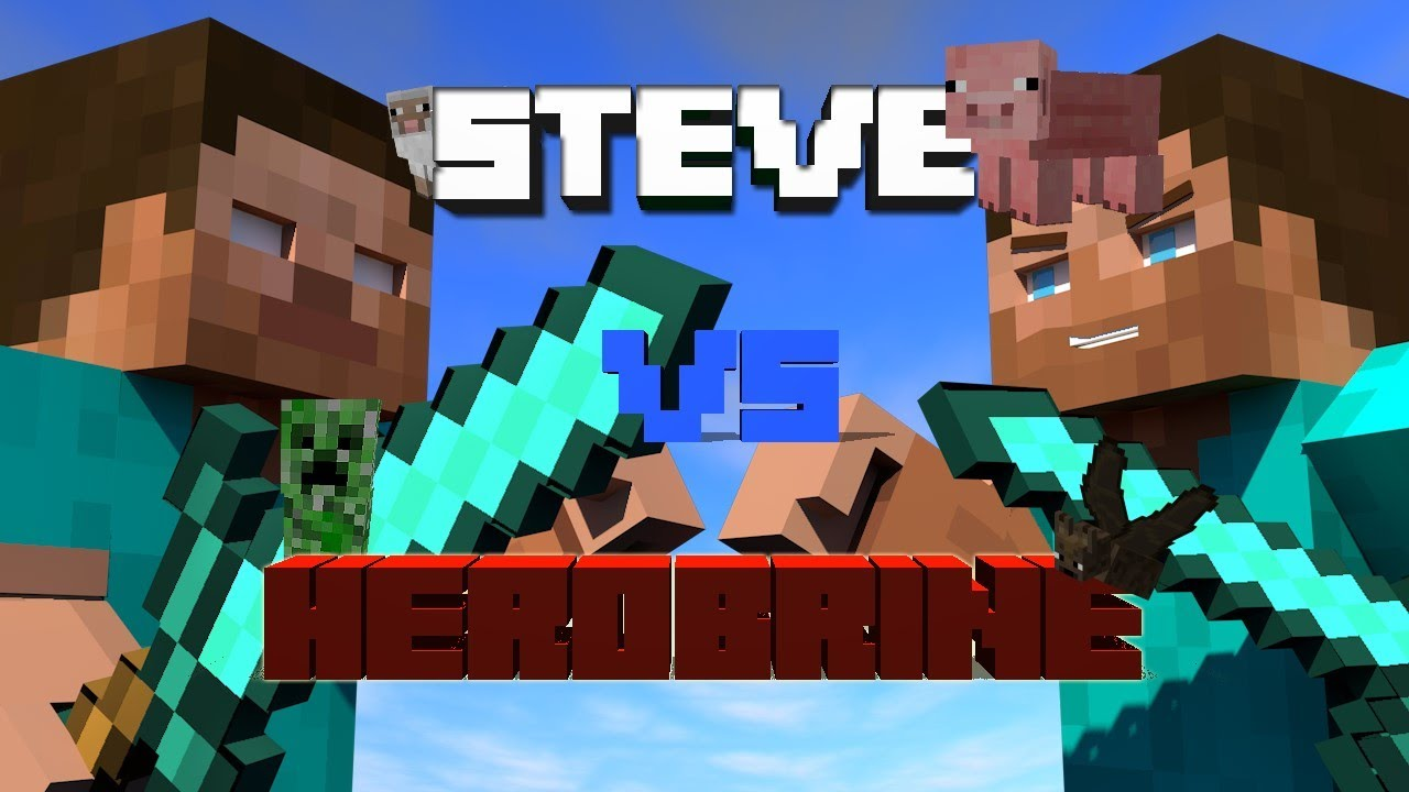 Steve vs Herobrine   Minecraft Animation Cinema 4D - YouTube