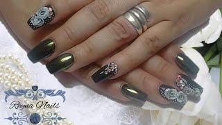 ♥♥uñas elegantes en color negroflores 3defecto camaleónby reyna nails♥♥