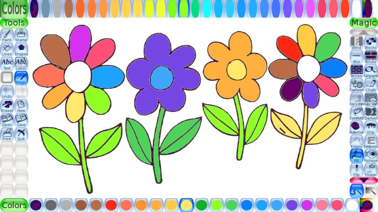 learn to draw watercolor flowers | learn colours for kids | flower ...