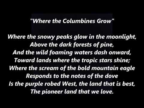 COLORADO Official State Song Where The Columbines Grow LYRICS WORDS SING ALONG SONGS