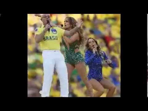 Pitbull, Jennifer Lopez and Claudia Leitte perform at the climax of the opening ceremony in Sao Paul