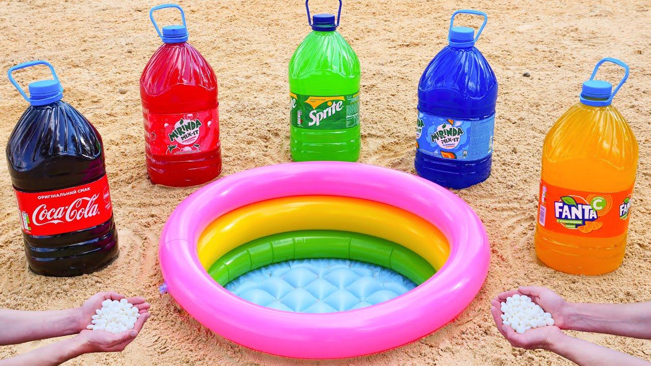 Experiment: Cola, Sprite, Fanta, Mirinda VS Mentos in the Pool