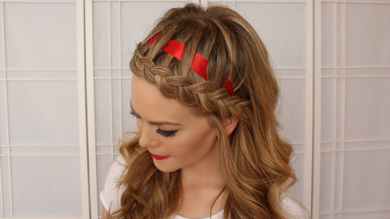 Dutch Braid Hairstyle with a Ribbon - YouTube