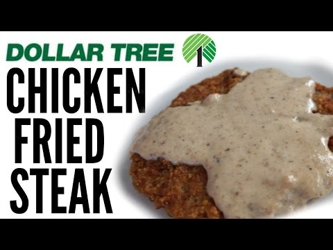 $1 CHICKEN FRIED STEAK & homemade gravy | DOLLAR STORE Taste Test