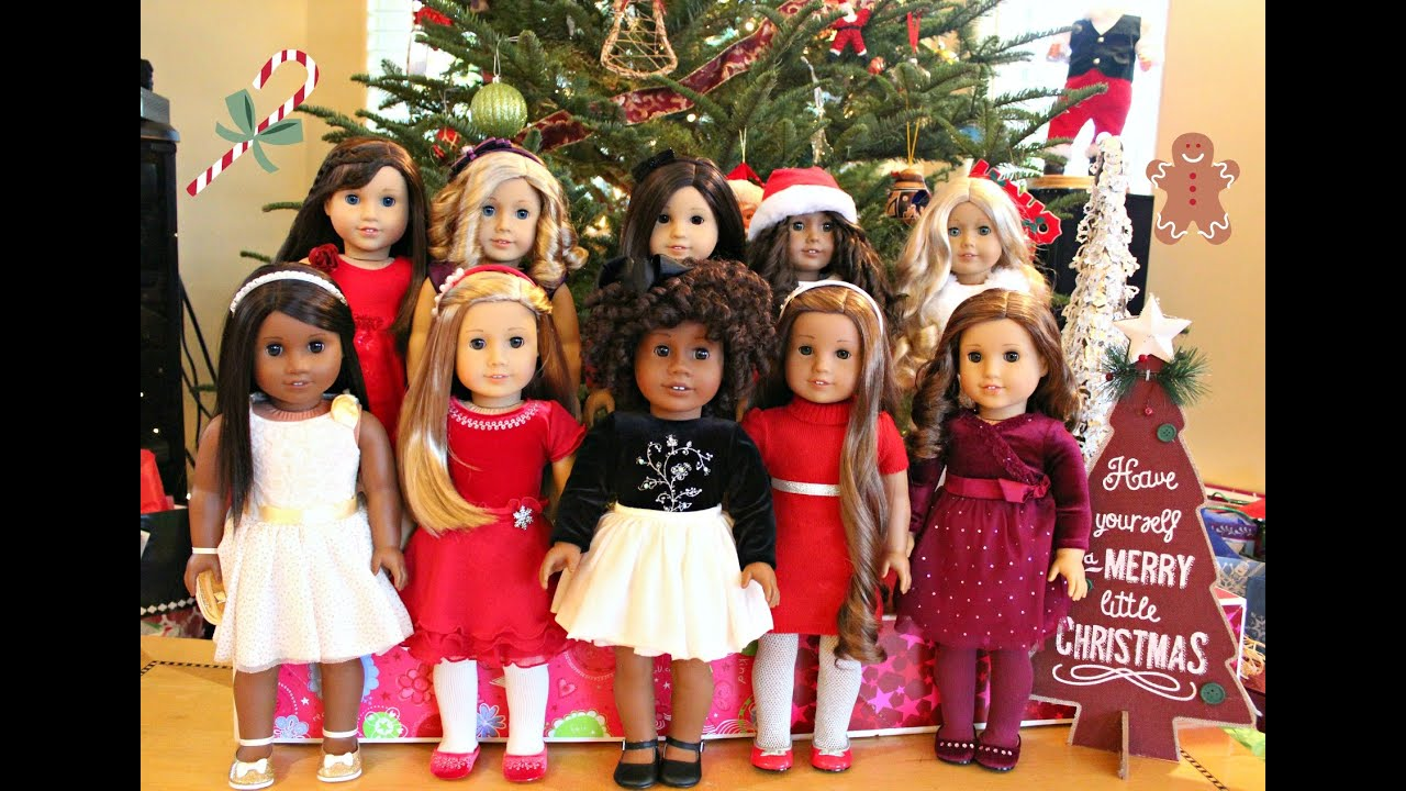 American Girl Doll Christmas Outfits/Dresses! - YouTube