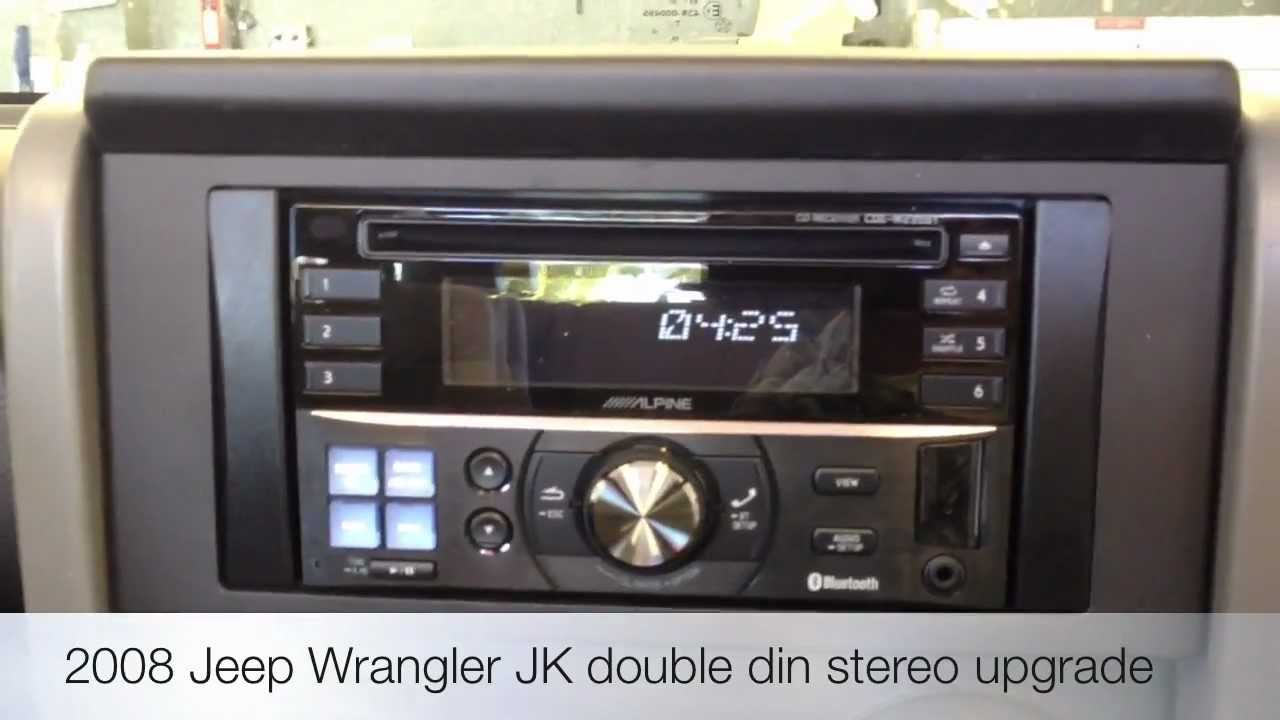 small resolution of alpine cde w235bt double din stereo bluetooth ipod jeep jk wrangler youtube