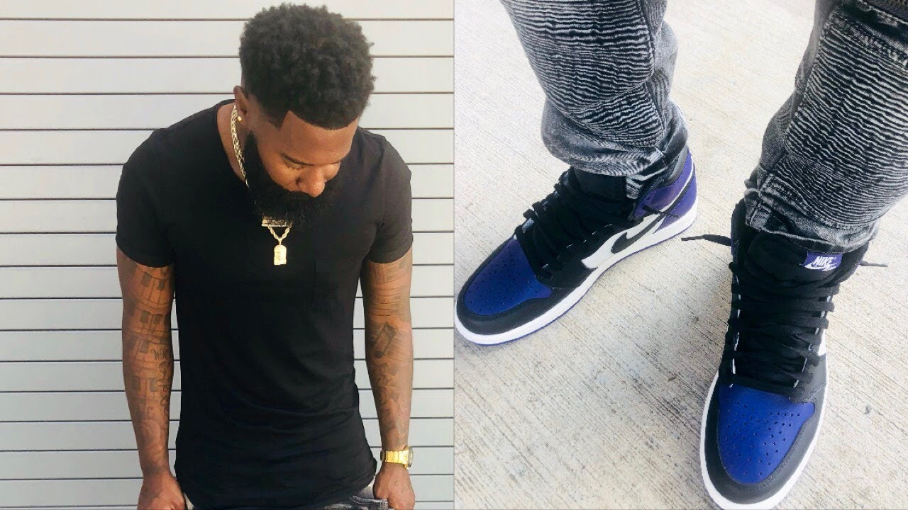 1abbb3150567 Outfit of the day  court purple air Jordan 1 on feet  dress tutorial 🔥🔥🔥