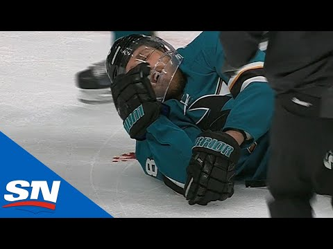 Sharks' Joe Pavelski Bloodied As Head Hits Ice After Cody Eakin Wipes Him Out