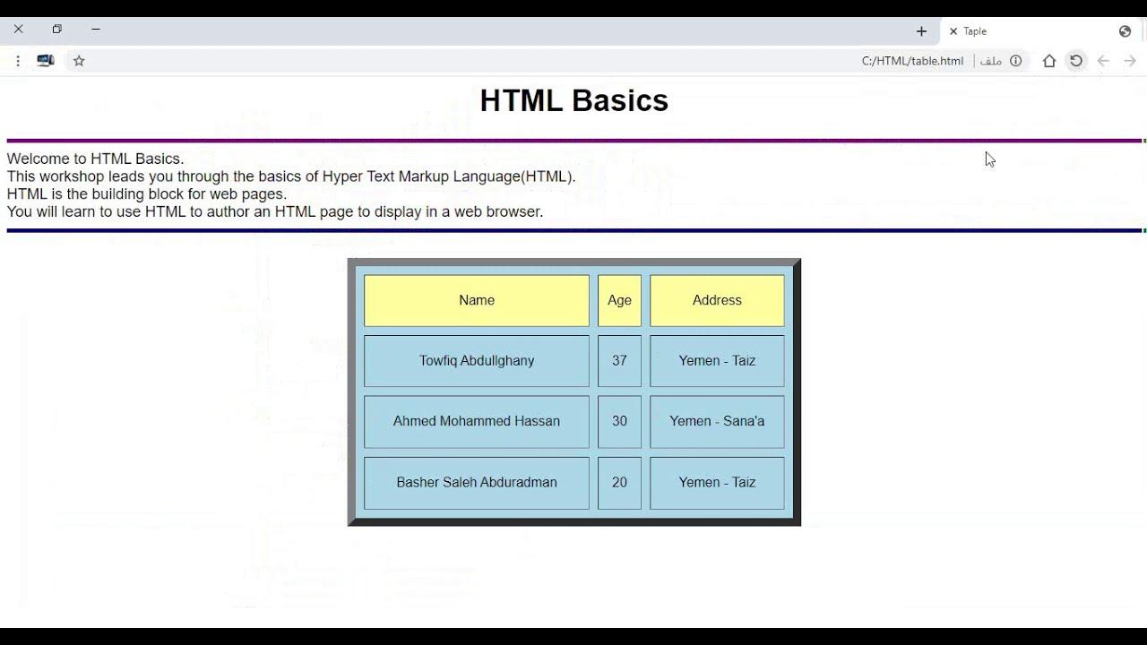 6 HTML Table الجداول