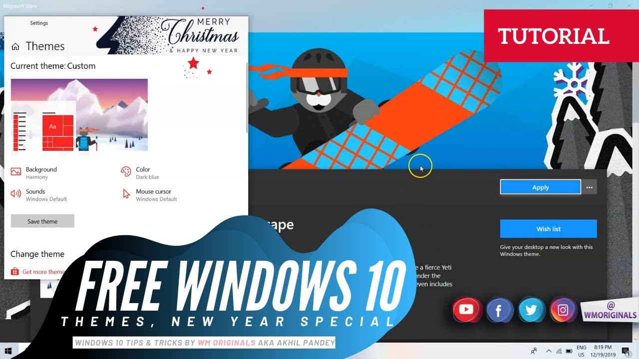 Download Best Windows 10 Themes 2021   How to Change / Download FREE Windows 10 Themes ⛄ #2K21