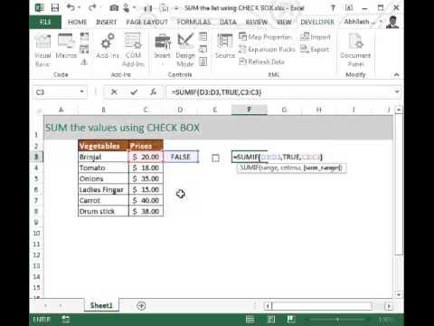 SUM values using CHECK BOX control
