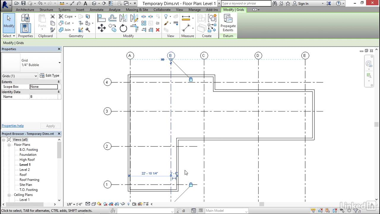 revit 2017 essential training for architecture imperial refinine using temporary dimensions revit products 2017 autodesk knowledge network [ 1280 x 720 Pixel ]