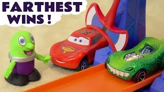 Disney Cars Toys McQueen and Hot Wheels Superheroes Avengers and Batman Farthest Wins Race TT4U