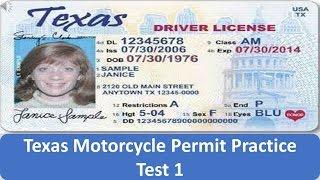 Texas Motorcycle Permit Practice Test 1