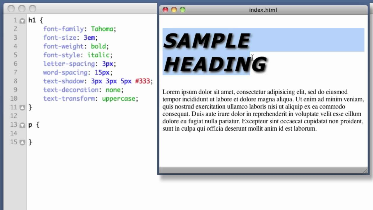 Decoration of a web page and font size in HTML
