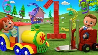 Learning Numbers for Children | Little Babies Fun Play Color Blocks Domino Numbers Train Toy 3D Kids