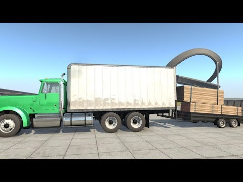 BeamNG Drive - 4.9 Tons of Planks Transport in the Large Box Utility Trailer