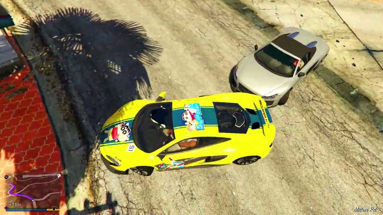 Shinchan Jump Godzilla Cars Across Map in GTA 5   Gold Batman Car vs Godzilla Car [Hindi]