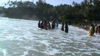 Young women in  Kovalam Beach.