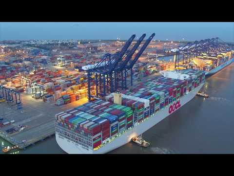 World's largest container ship docks at Port of Felixstowe