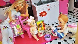 МАЛЫШИ! КОШКИ НЕСКВИК НЕ ЕДЯТ! Мультики с куклами Барби как мама