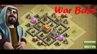 Clash Of Clans - Town Hall 4 War Base - Speed Build 2016