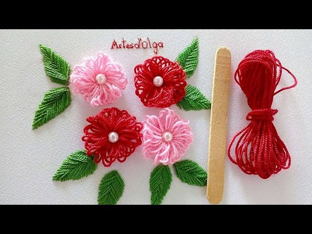 Hand Embroidery: Easy trick to make flowers with ice cream stick | ArtesdOlga
