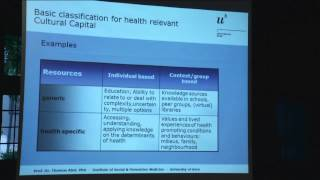 Thomas Abel - Cultural Capital and the Production of Health