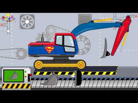 Koparka Superman z Fabryki  Budowa Koparki Film dla Dzieci