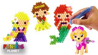 Learn Videos for Kids: Paw Patrol Skye & Disney Princess Aquabeads and Surprises