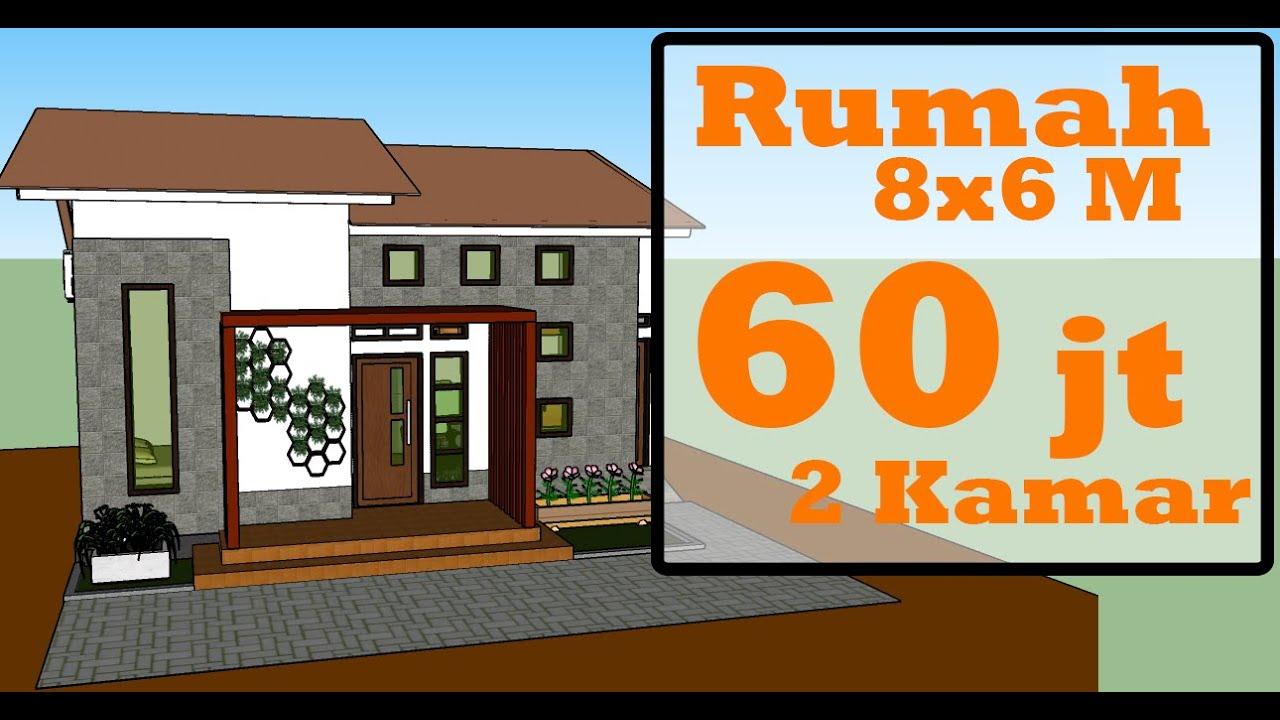 Desain Rumah Minimalis 8x6 Meter Dengan 2 Kamar Tidur - JDRG Official -  YouTube