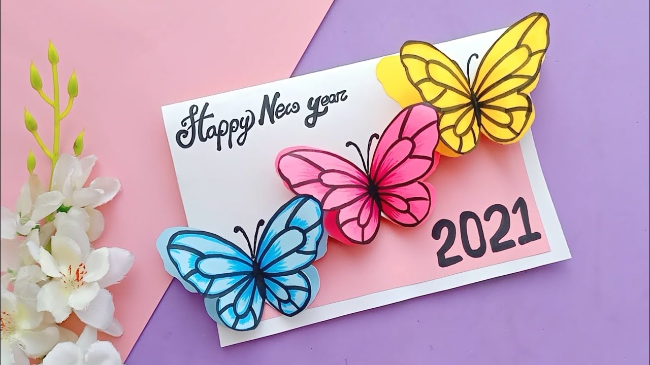 how to make happy new year card • cute new year greeting