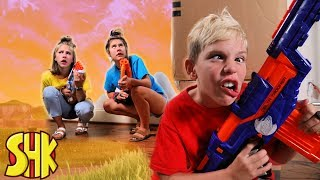 Forever Fortnite! Noah's Sneak Attack on his sisters | SuperHeroKids