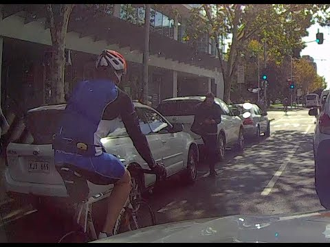 Pedestrian nearly hit by cyclist