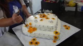 2 tier heart  sunflower wedding cake