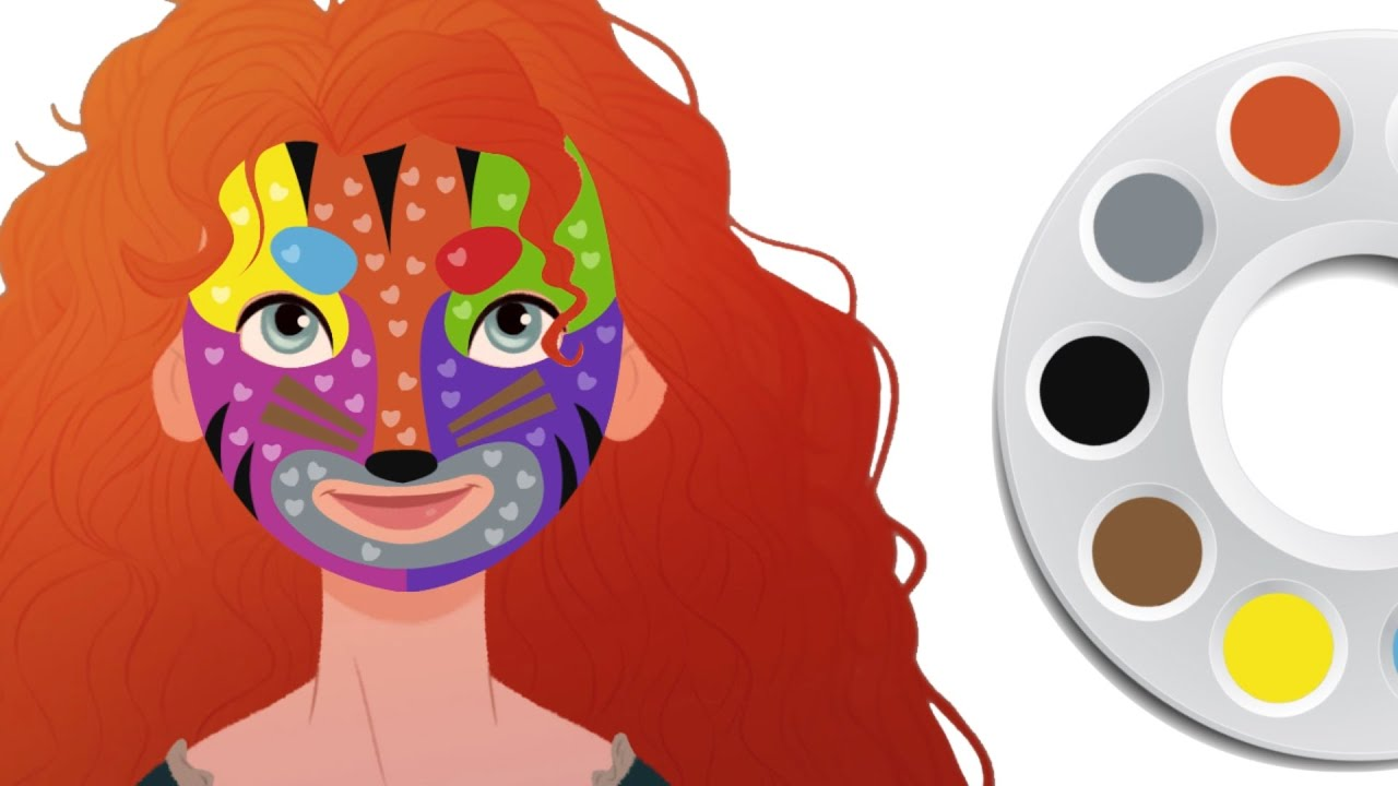 New Princess Coloring Pages : Disney face painting disney princess merida coloring pages for