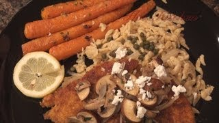 31. Chicken Schnitzel With Lemon-caper Spaetzle, Bianca Zucchini Crustinis, Roasted Carrots