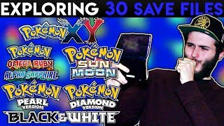 EXPLORING x30 POKEMON SAVE FILES! - I CAN'T believe what happened... (Part 1)