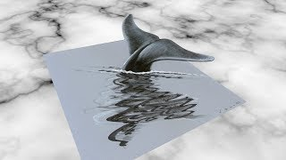 BLUE WHALE ILLUSION - How to Draw 3D Whale - Anamorphosis