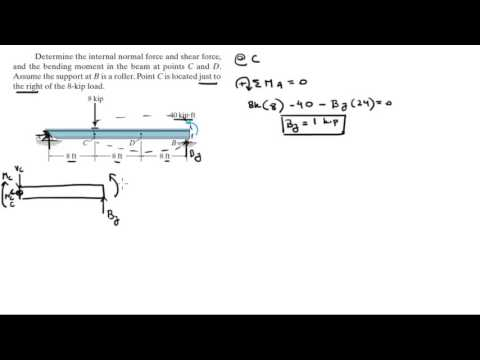 Determine the normal, shear force, and bending moment at C and D