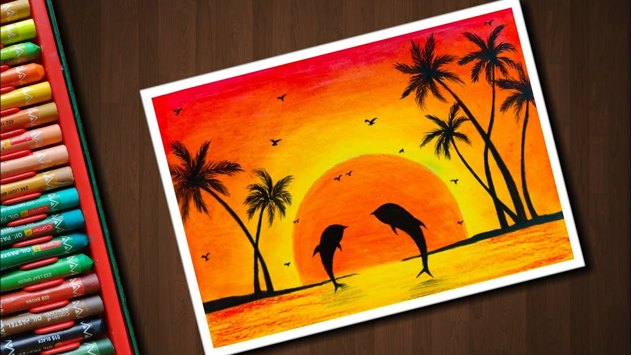 Dolphin Sunset Scenery Drawing With Oil Pastels For Beginners Step