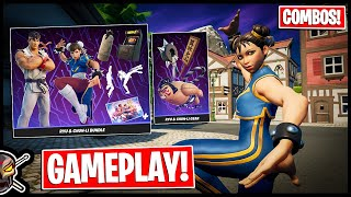 RYU and CHUN-LI Skin Reviews!! Gameplay + Combos! (Fortnite x Street Fighter)